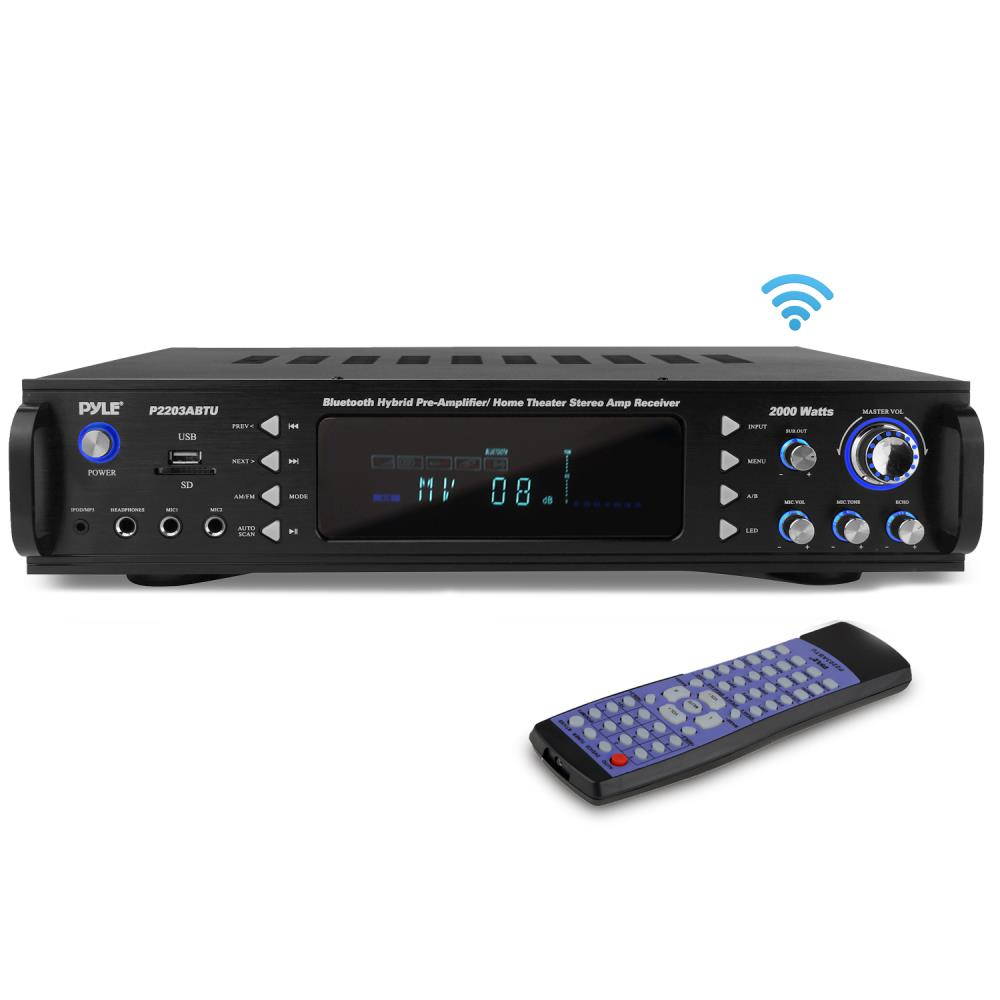Pyle Bluetooth 2000w Hybrid 2 Channel Stereo Home Hi-Fi Amplifier Amp AM FM Tuner