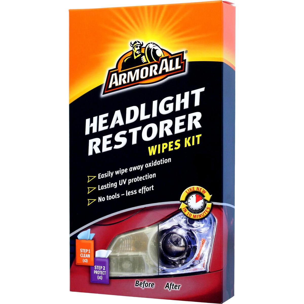 Armor All Car Headlight Headlamp Restorer Restoration & Sealant Wipes Kit