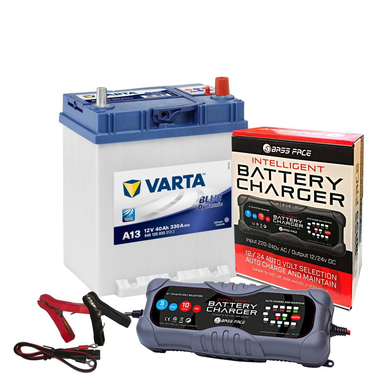 Varta A13 Suzuki Toyato Car Battery 12v 4 Year 054 40Ah 330CCA W/ 10 Amp Charger