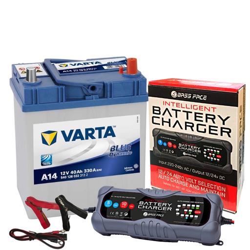 Varta A14 Suzuki Toyato Car Battery 12v 4 Year 054 40Ah 330CCA W/ 10 Amp Charger