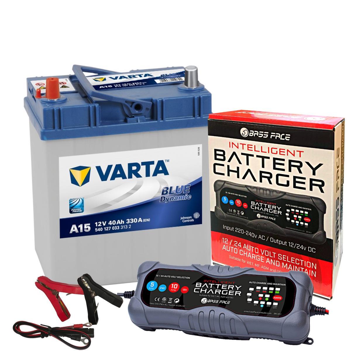Varta A15 Suzuki Toyato Car Battery 12v 4 Year 055 40Ah 330CCA W/ 10 Amp Charger