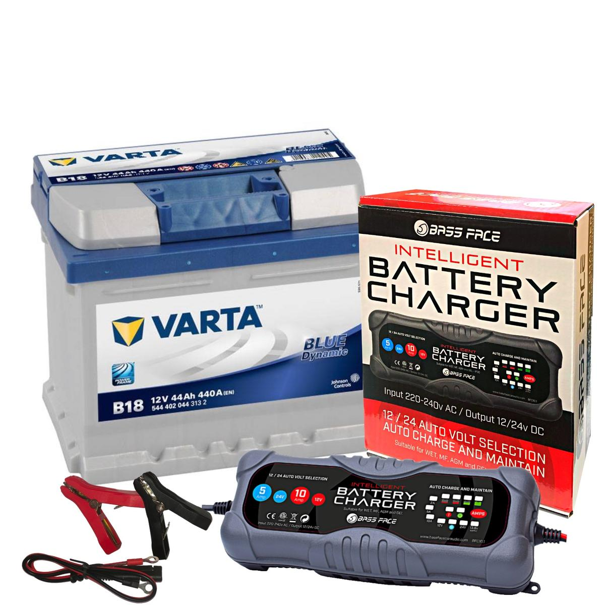 Varta B18 Ford VW Seat Car Battery 12v 4 Year 063 44Ah 440CCA W/ 10 Amp Charger