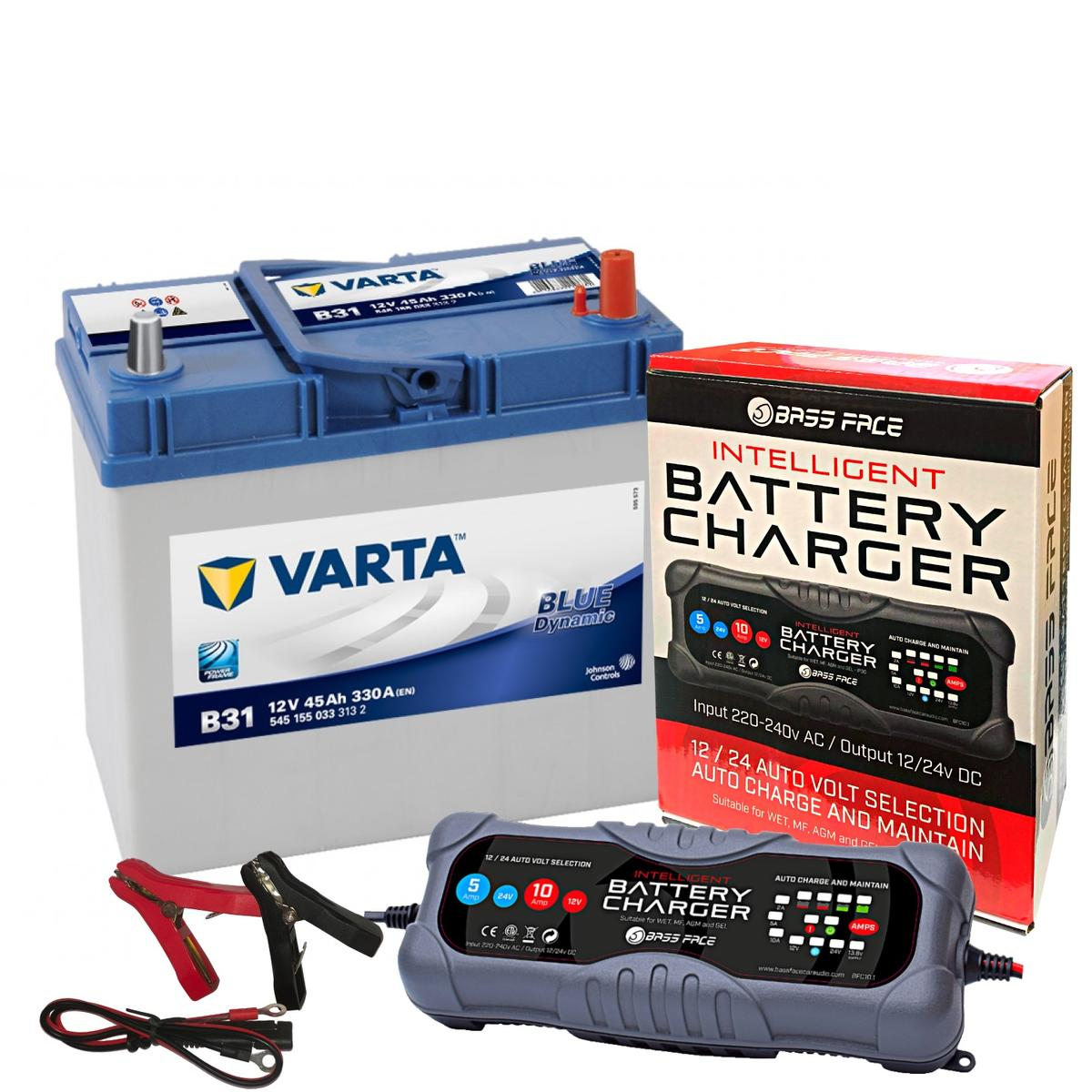 Varta B32 Toyota Car Battery 12v 4 Year 044 / 053 45Ah 330CCA W/ 10 Amp Charger