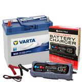 Varta B33 Suzuki Honda Car Battery 12v 4 Year 155 45Ah 330CCA W/ 10 Amp Charger