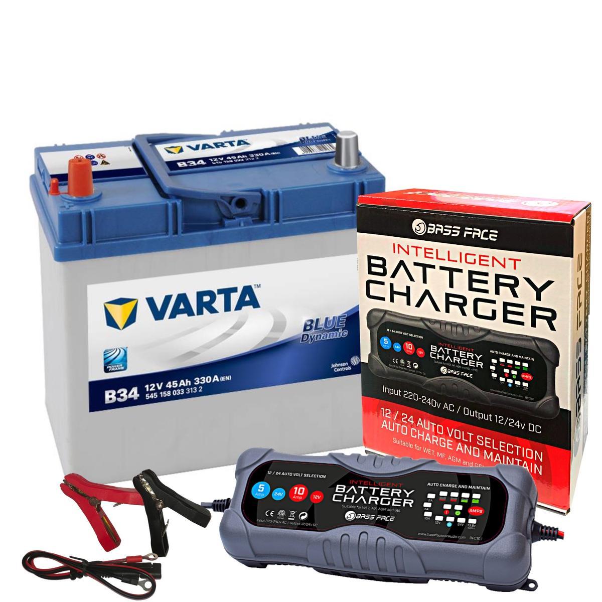Varta B34 Honda Toyota Car Battery 12v 4 Year 057 45Ah 330CCA W/ 10 Amp Charger