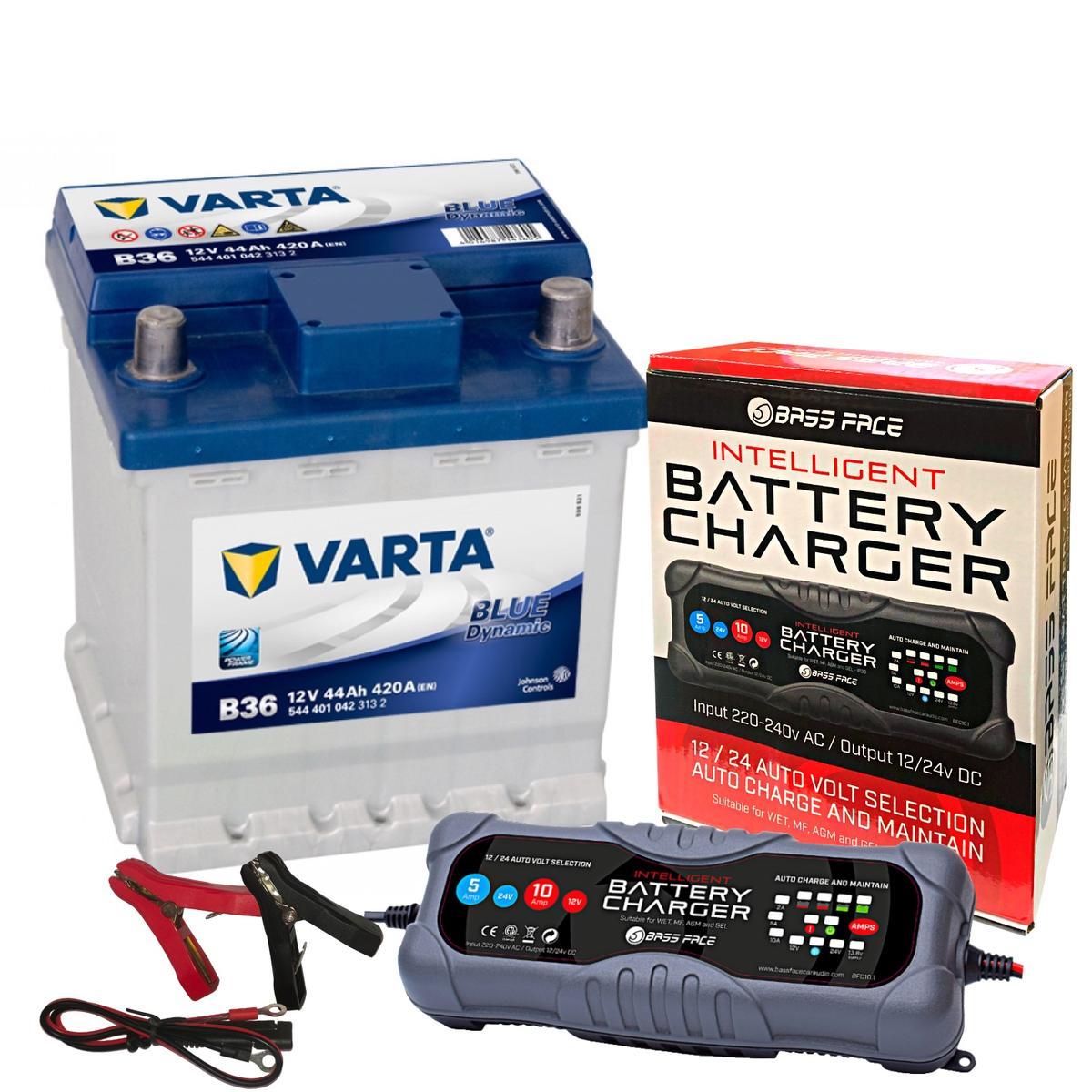 Varta B36 Fiat Car Battery 12v 4 Year 202 / 002L 44Ah 420CCA W/ 10 Amp Charger