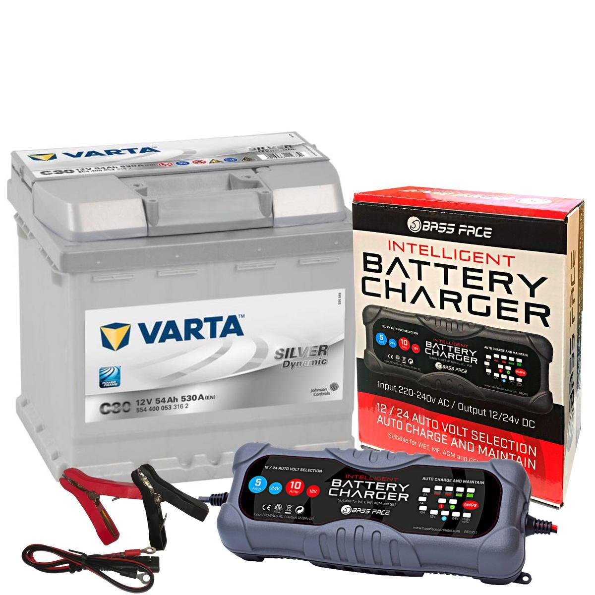 Varta C30 12v 54 AH 530 CCA 012 5 Year Warranty Car Battery W/ 10 Amp Charger