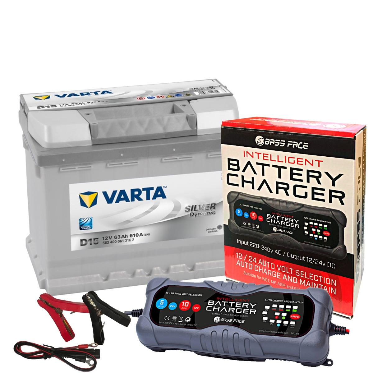 Varta D15 BMW VW Volvo Car Battery 12v 5 Year 027 63Ah 610CCA W/ 10 Amp Charger