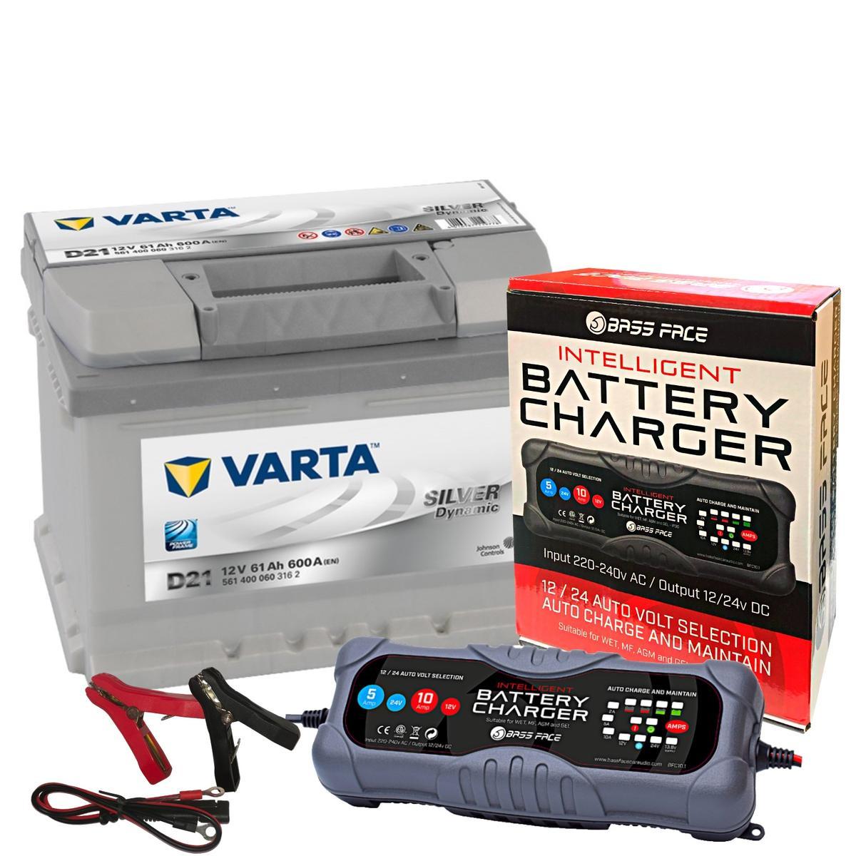 Varta D21 Ford Vaux VW Car Battery 12v 5 Year 075 61Ah 600CCA W/ 10 Amp Charger