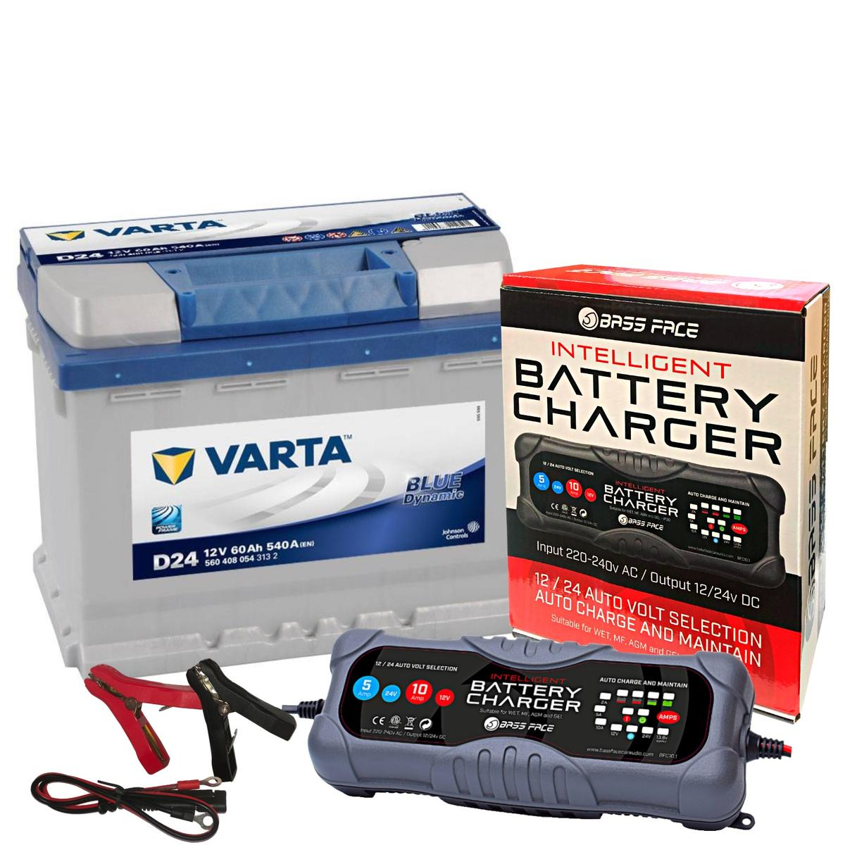 Varta D24 Audi Merc Car Battery 12v 4 Year 027 60Ah 540CCA W/ 10 Amp Charger