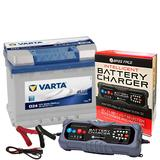 Varta D24 Audi Merc Car Battery 12v 4 Year 027 60Ah 540CCA W/ 10 Amp Charger