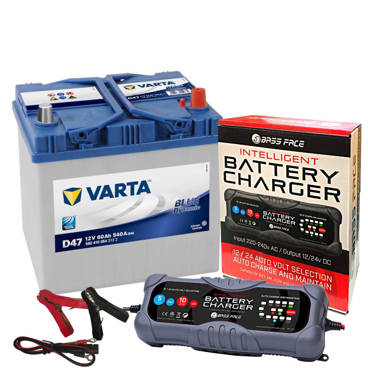 Varta D47 Mazda Toyota Car Battery 12v 4 Year 005L 60Ah 540CCA W/ 10 Amp Charger