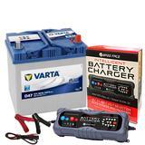Varta D47 Mazda Toyota Car Battery 12v 4 Year 005L 60Ah 540CCA W/ 10 Amp Charger