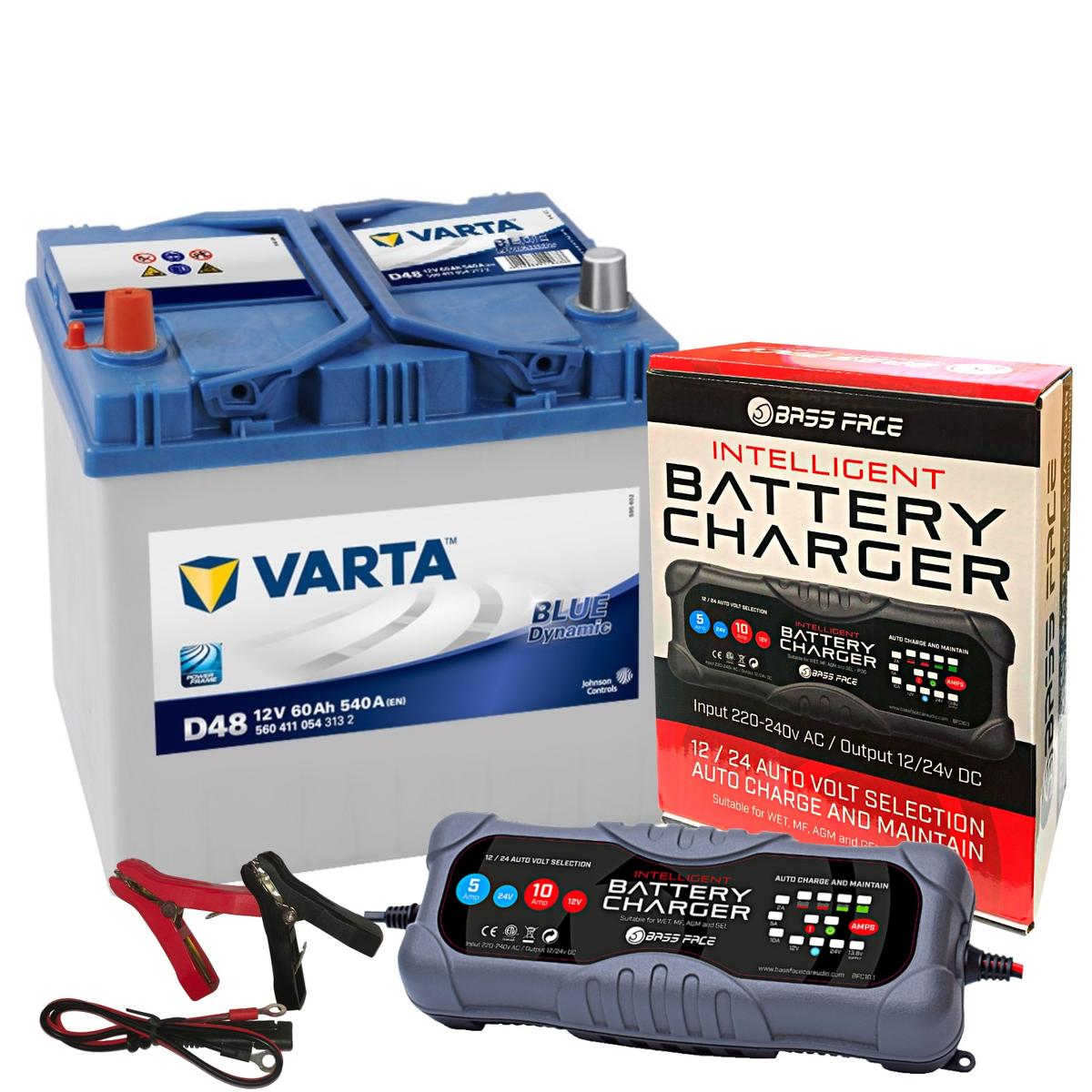 Varta D48 Subaru Car Battery 12v 4 Year 014 / 005R 60Ah 540CCA W/ 10 Amp Charger