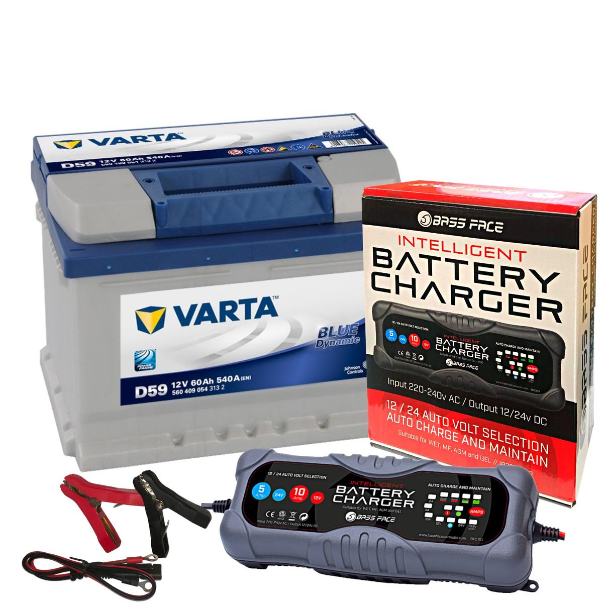 Varta D59 Ford Volvo Car Battery 12v 4 Year 075 60Ah 540CCA W/ 10 Amp Charger