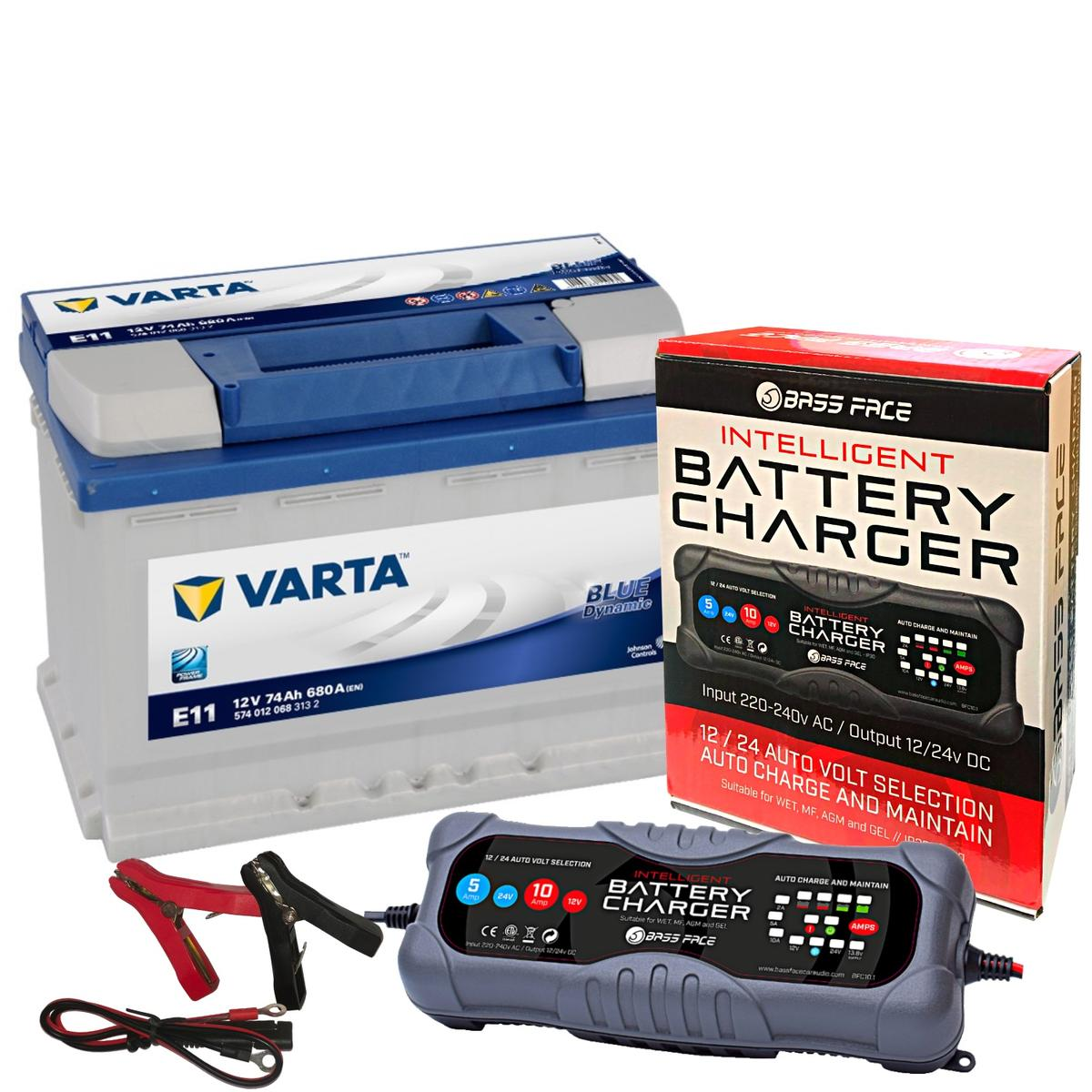Varta E11 Alfa Audi Car Battery 12v 4 Year 096 74Ah 680CCA W/ 10 Amp Charger