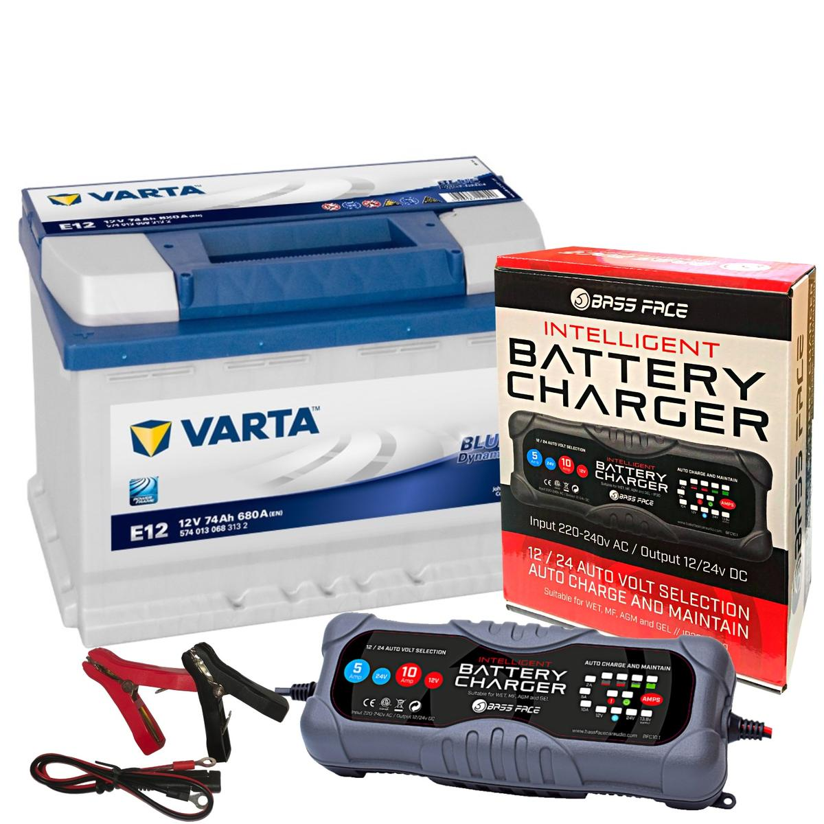 Varta E12 Jeep Car Battery 12v 4 Year 086 / 096R 74Ah 680CCA W/ 10 Amp Charger