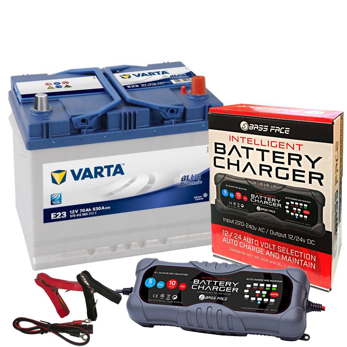 Varta E23 Alfa Nissan Car Battery 12v 4 Year 068 70Ah 630CCA W/ 10 Amp Charger