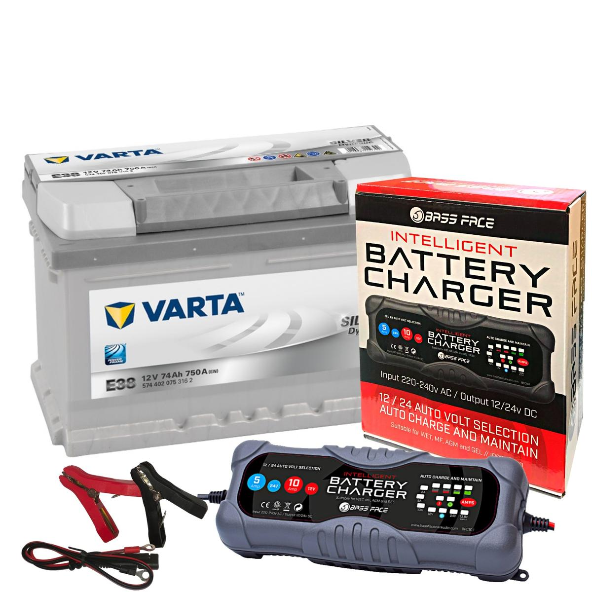 Varta E38 Audi Seat VW Car Battery 12v 5 Year 100 74Ah 750CCA W/ 10 Amp Charger