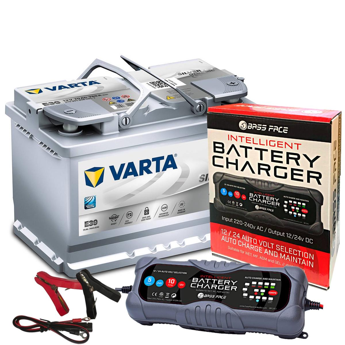 Varta E39 Audi BMW Car Battery 12v 4 Year 096 70Ah 760CCA AGM W/ 10 Amp Charger