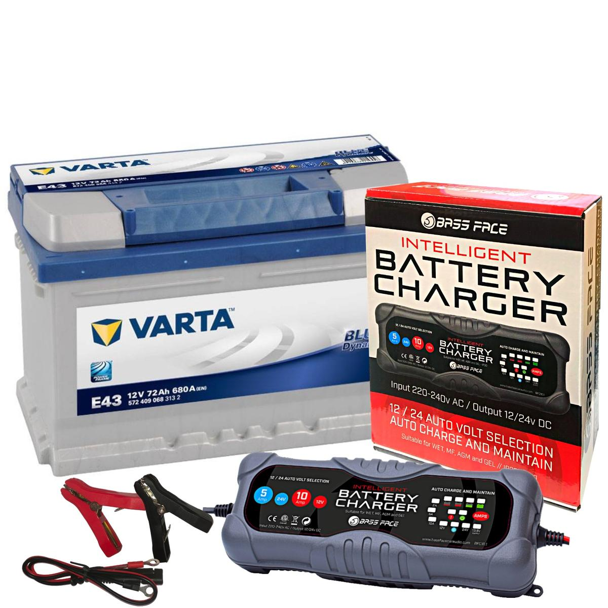 Varta E43 Vauxhall Car Battery 12v 4 Year 100 72Ah 680CCA W/ 10 Amp Charger