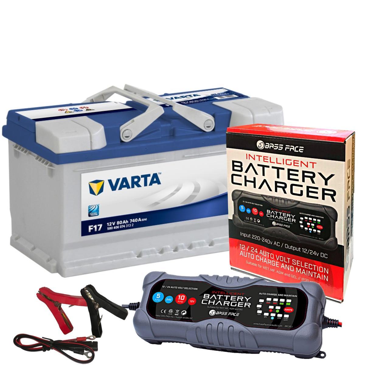Varta F17 Vaux Porsche Car Battery 12v 4 Year 110 80Ah 740CCA W/ 10 Amp Charger