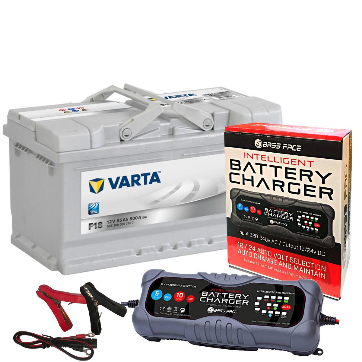 Varta F18 Audi Porsche Car Battery 12v 5 Year 110 85Ah 800CCA W/ 10 Amp Charger