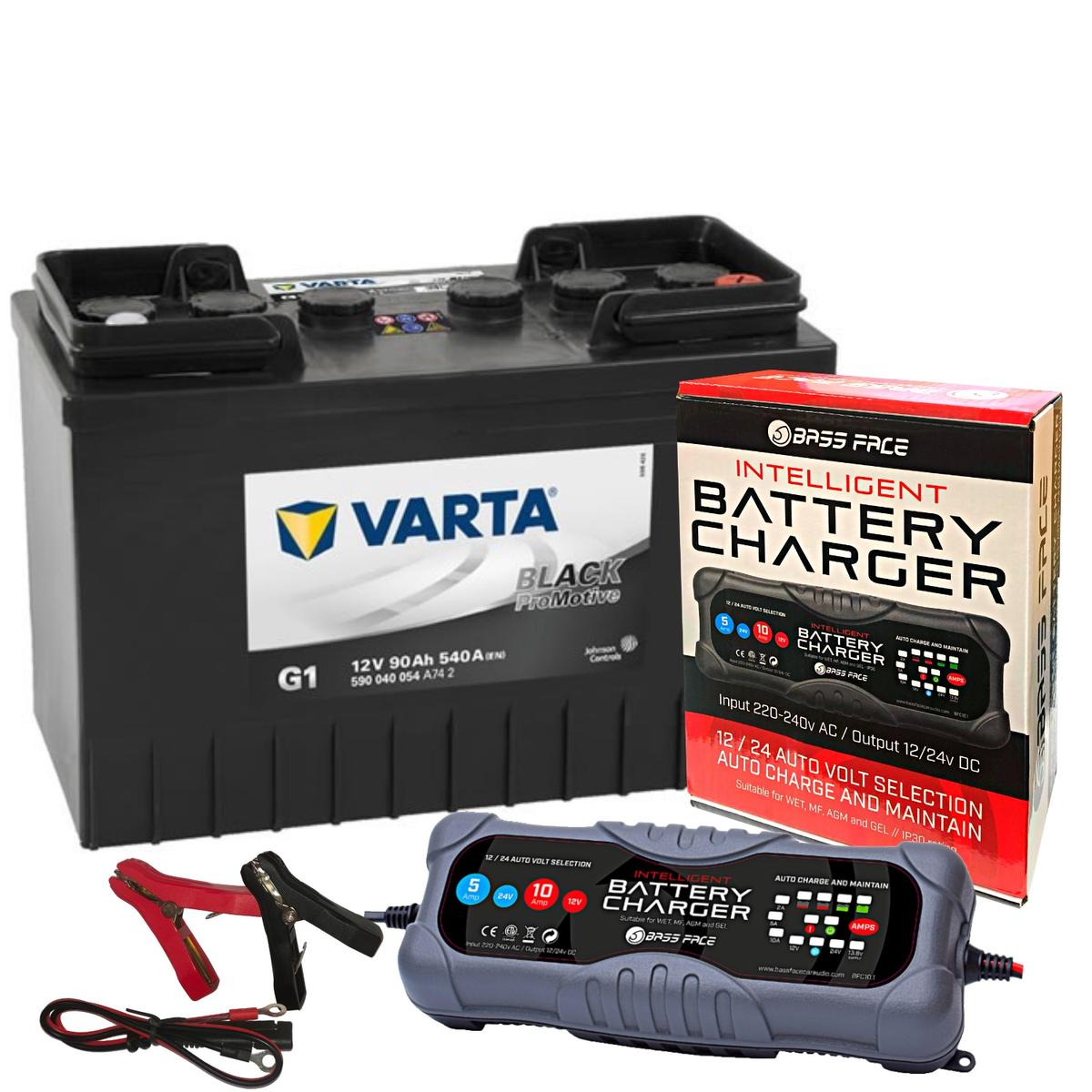 Varta G1 Commerial Battery 12v 2 Year 643/645 90Ah 540CCA W/ 10 Amp Charger