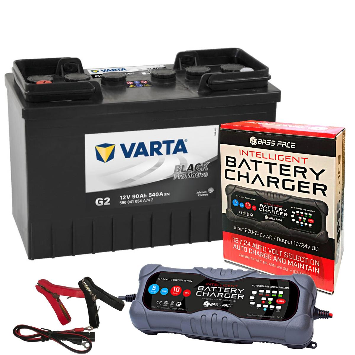 Varta G2 Commerial Battery 12v 2 Year 644/646 90Ah 540CCA W/ 10 Amp Charger