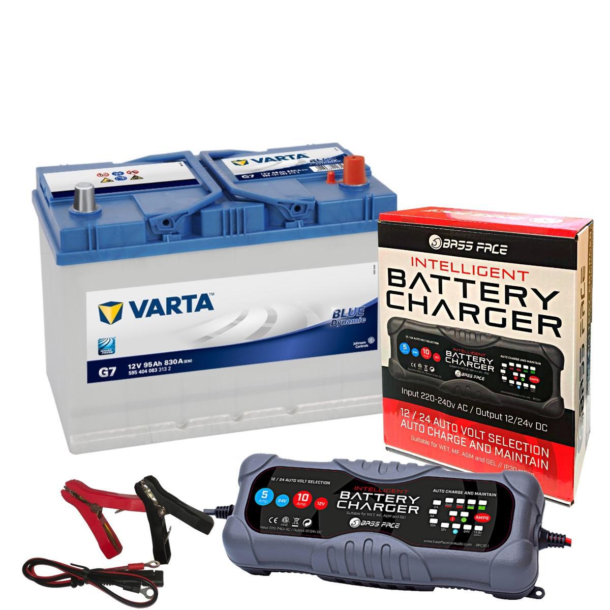 Varta G7 Nissan Car Battery 12v 4 Year 335 / 249H 95Ah 830CCA W/ 10 Amp Charger