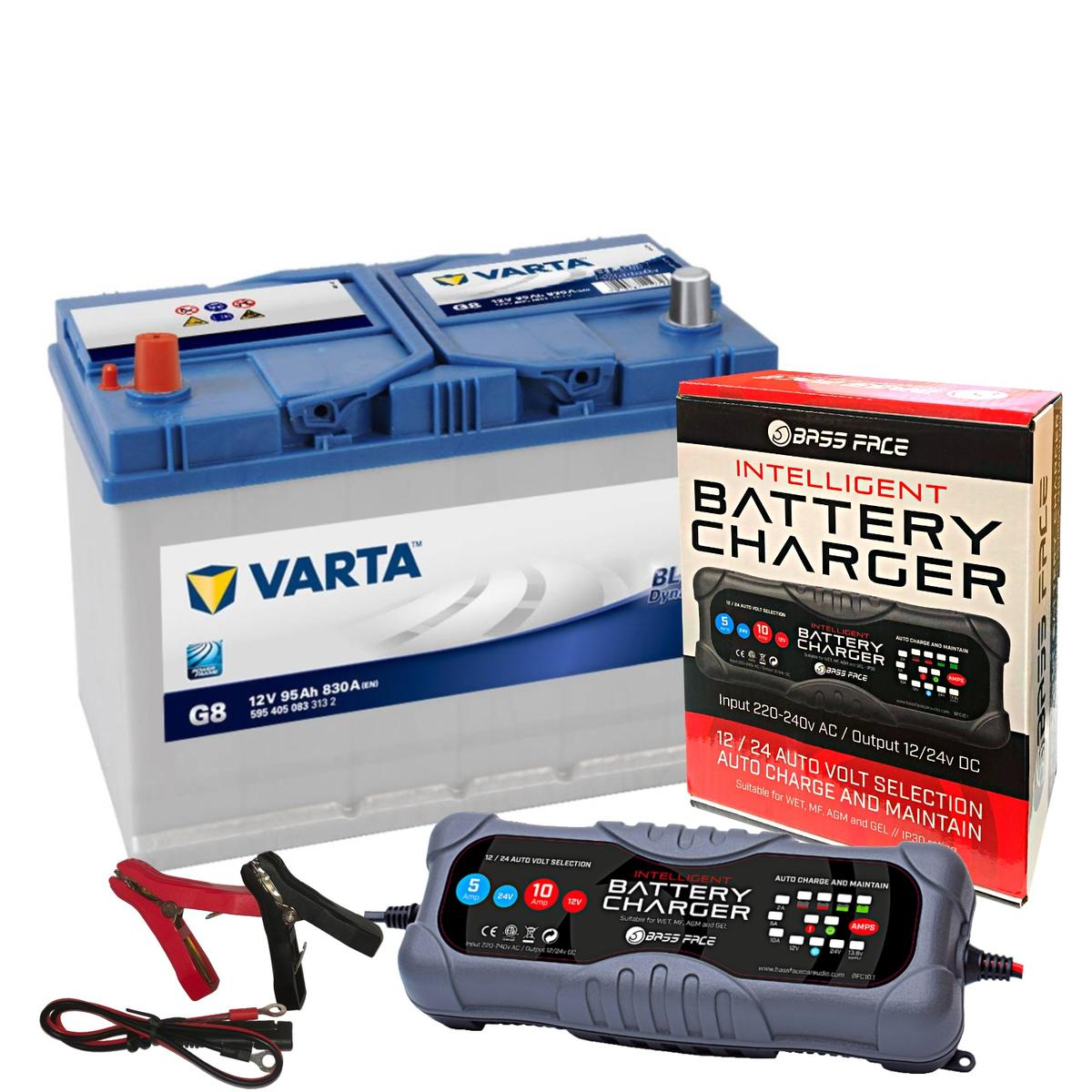 Varta G8 Mazda Car Battery 12v 4 Year 334 / 250H 95Ah 830CCA W/ 10 Amp Charger
