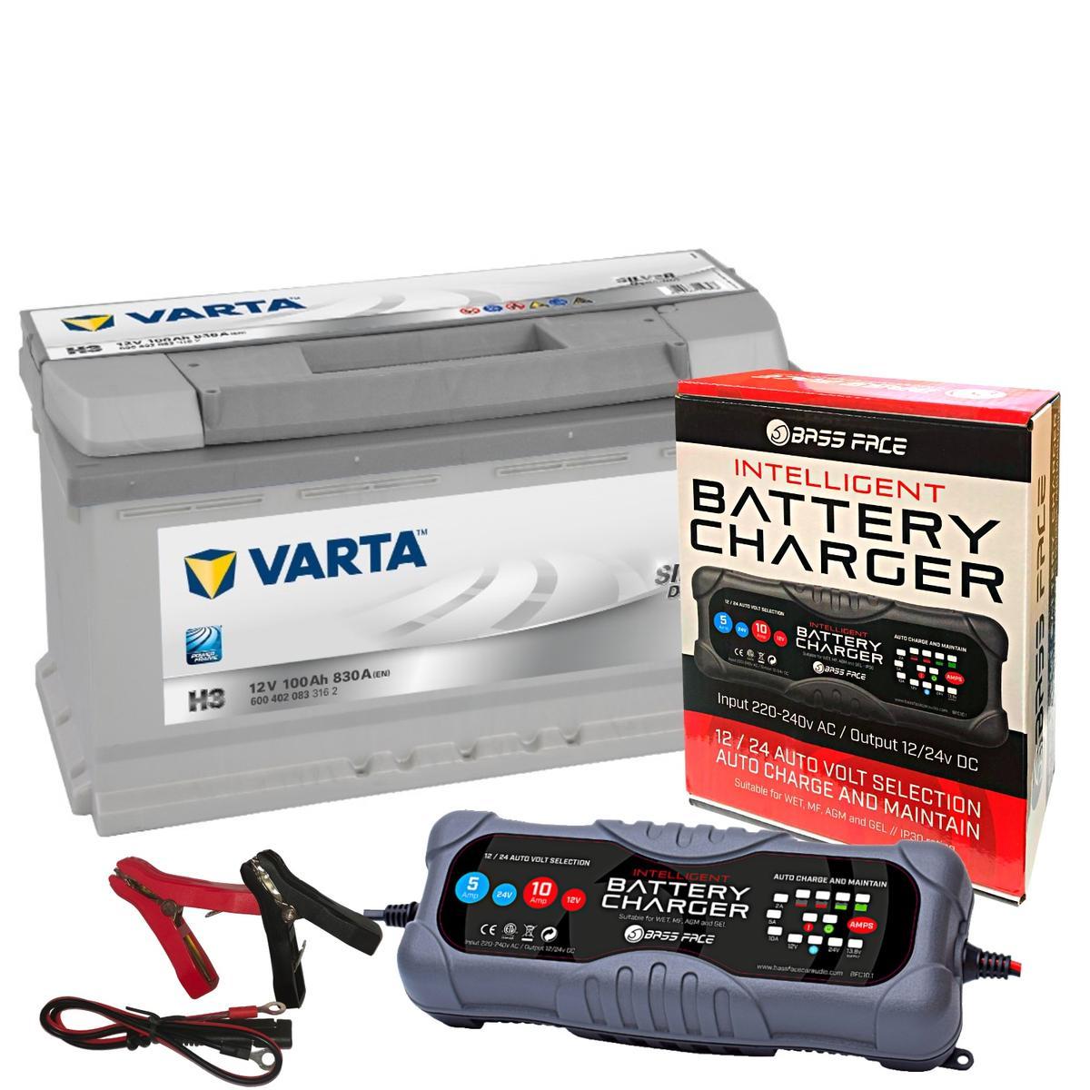 Varta H3 BMW Fiat Merc Car Battery 12v 5 Year 019 100Ah 830CCA W/ 10 Amp Charger