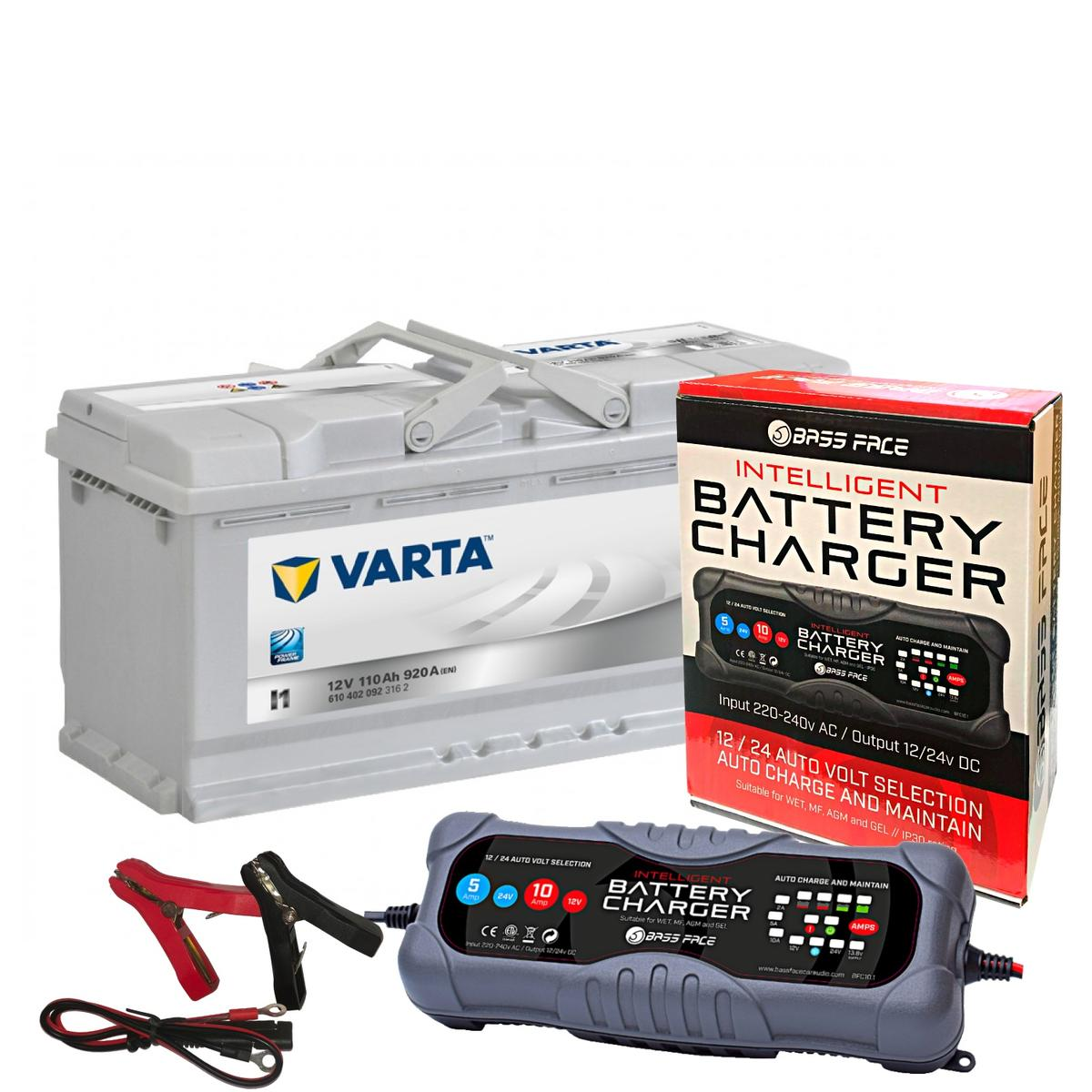 Varta I1 Audi Porsche Car Battery 12v 5 Year 020 110Ah 920CCA W/ 10 Amp Charger