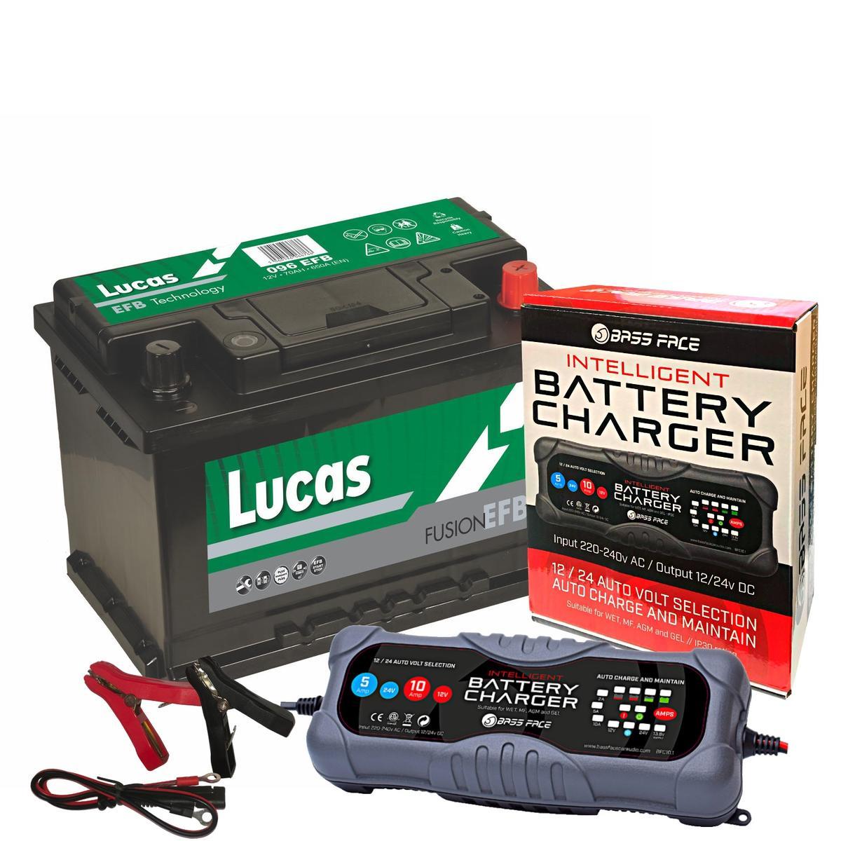 Lucas LE096 Alfa Audi Merc 3 Year Car Battery 12v 70Ah 650CCA W/ 10 Amp Charger