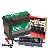 Lucas LE096 Alfa Audi Merc 3 Year Car Battery 12v 70Ah 650CCA W/ 10 Amp Charger