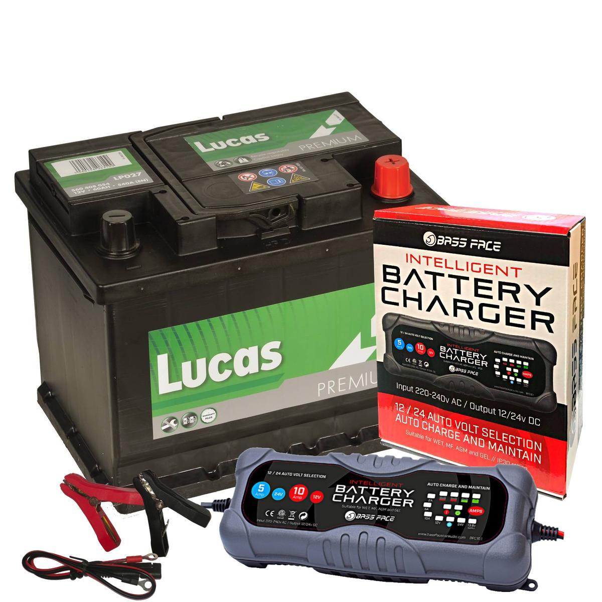 Lucas Premium LP027 12v 56Ah 540CCA Vaux BMW Volvo Car Battery W/ 10 Amp Charger