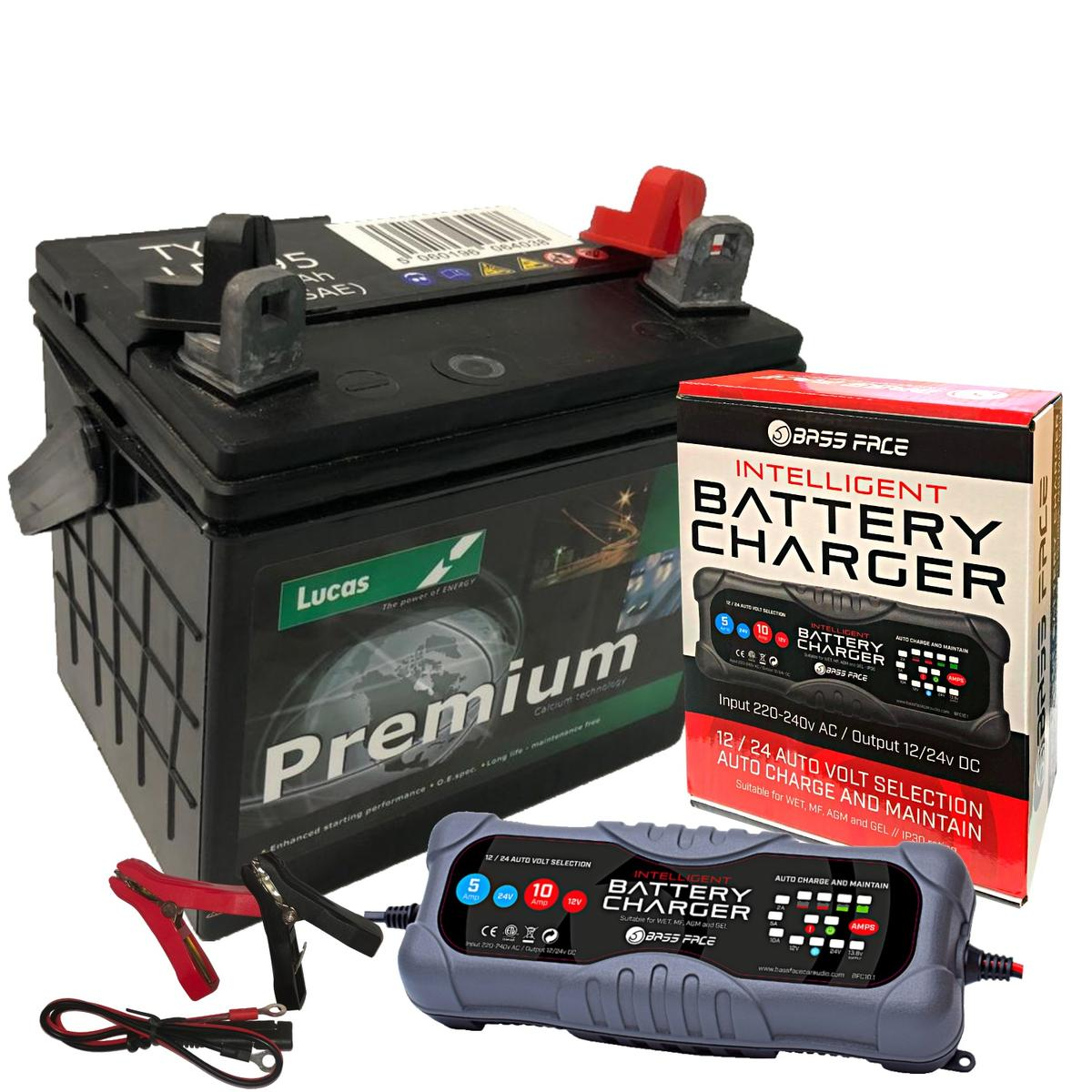 Lucas LP895 Premium 12v Garden Machinery Battery 32Ah 310CCA W/ 10 Amp Charger