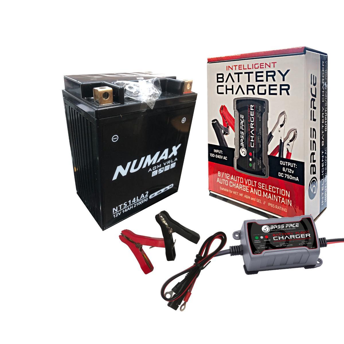 Numax NTS14LA2 MotorBike Motorcycle Battery Replaces 12N14-3A YB14L-A2 CB14L-A2