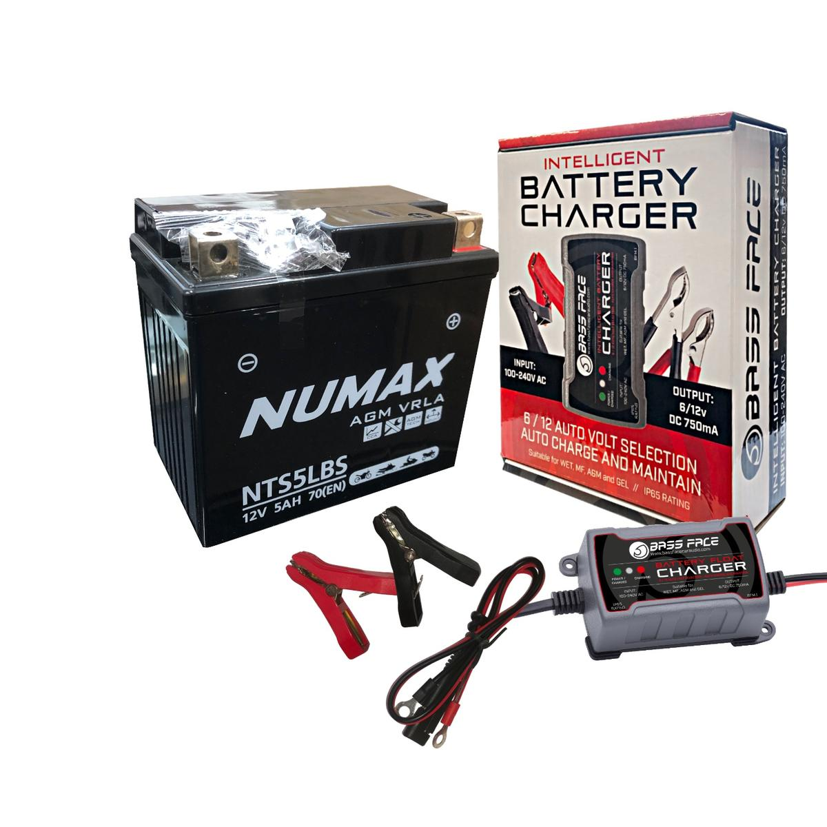 Numax 12v NTS5LBS Motorbike Motorcycle Bike Battery Replaces YTX5-LBS YTX5L-4