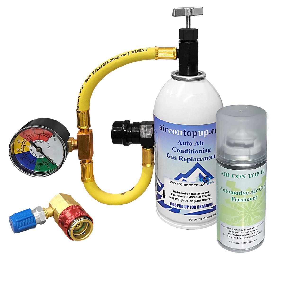 Car AC Aircon Top up Gas Refill Regas DIY Kit +High/Low Side Port +Sanitiser Can