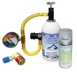 Car AC Aircon Top up Gas Refill Regas DIY Kit +High/Low Side Port +Sanitiser Can