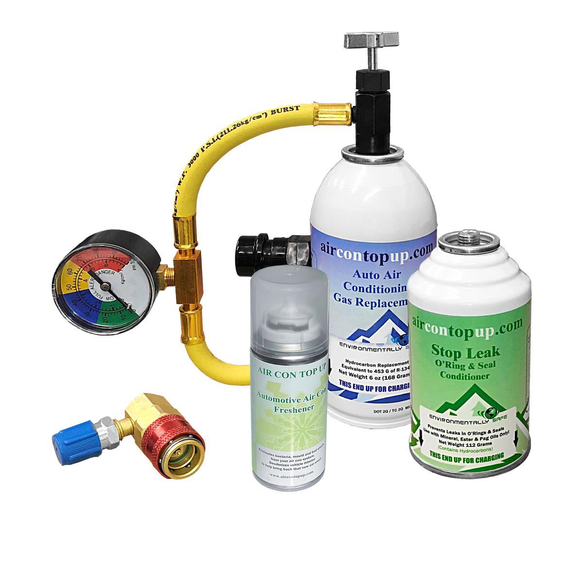 Car AC Aircon Air Con Regas DIY Kit +Leak Stopper +High/Low Side Port +Sanitiser