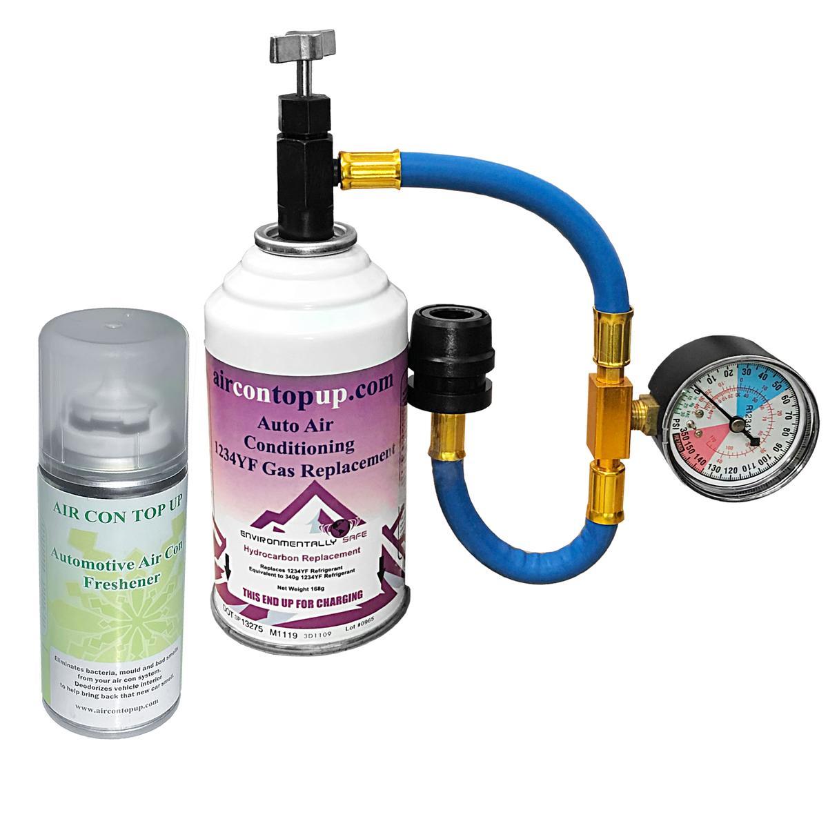 Car AC Aircon R1234YF Air Con Conditioning Top up Regas DIY Gas Kit +Sanitiser