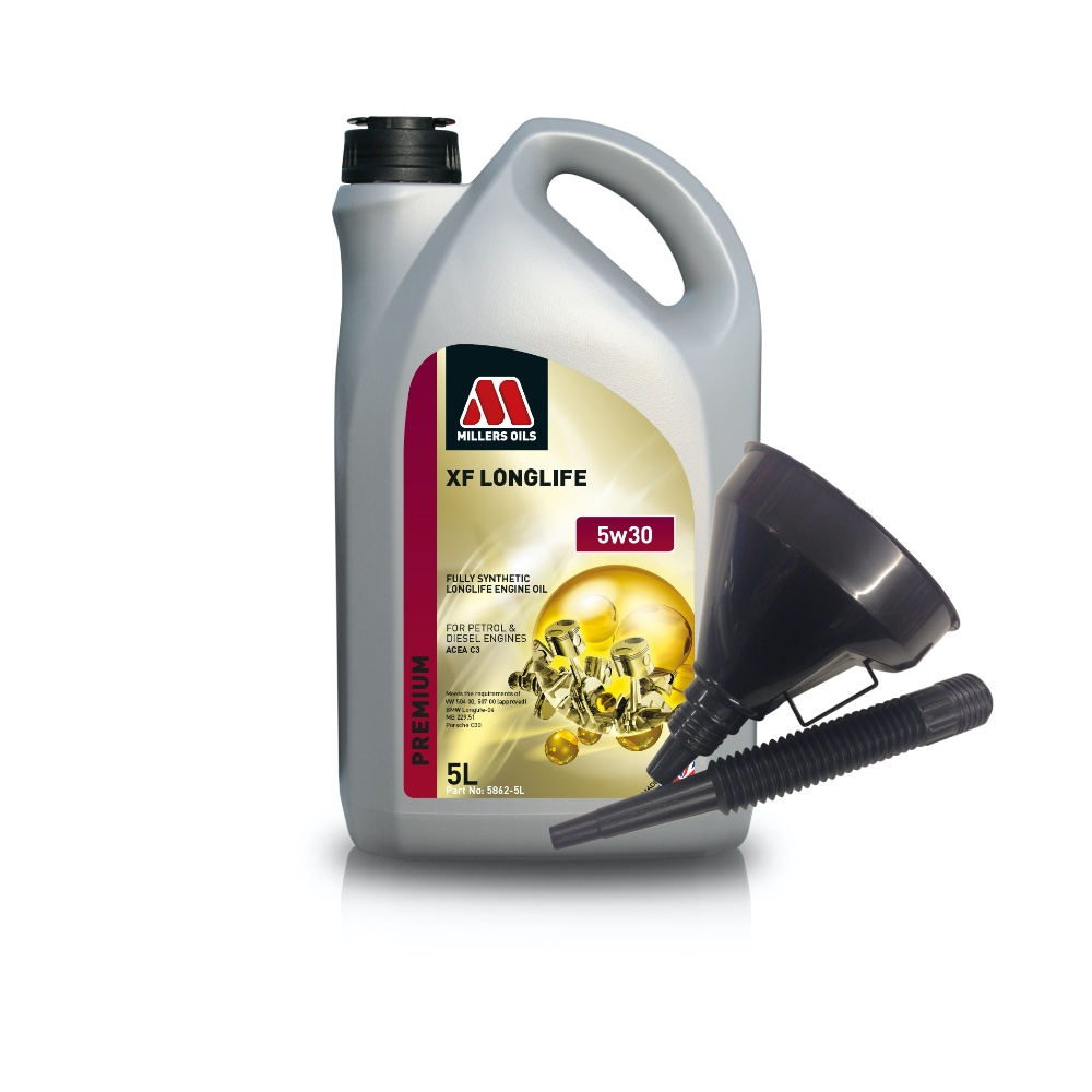 Millers Fully Synthetic 5W30 VW BMW Mercedes-Benz 5 Litre Engine Oil + Funnel