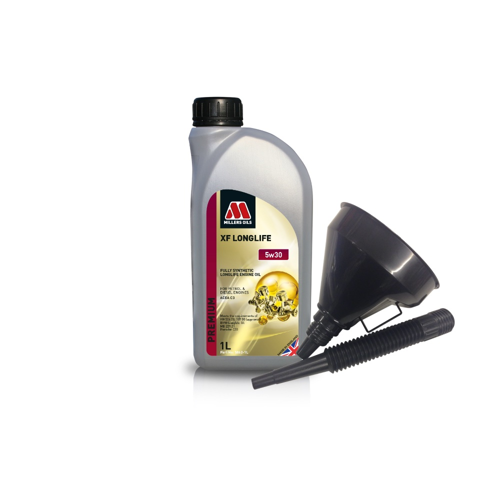 Millers Fully Synthetic 5W30 VW BMW Mercedes-Benz 1 Litre Engine Oil + Funnel