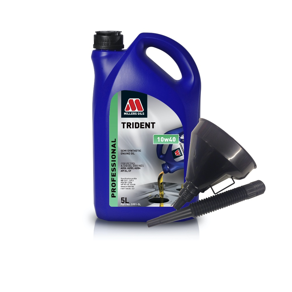 Millers Semi Synthetic 10W40 Turbo Charged 5 Litre Engine Oil + Funnel