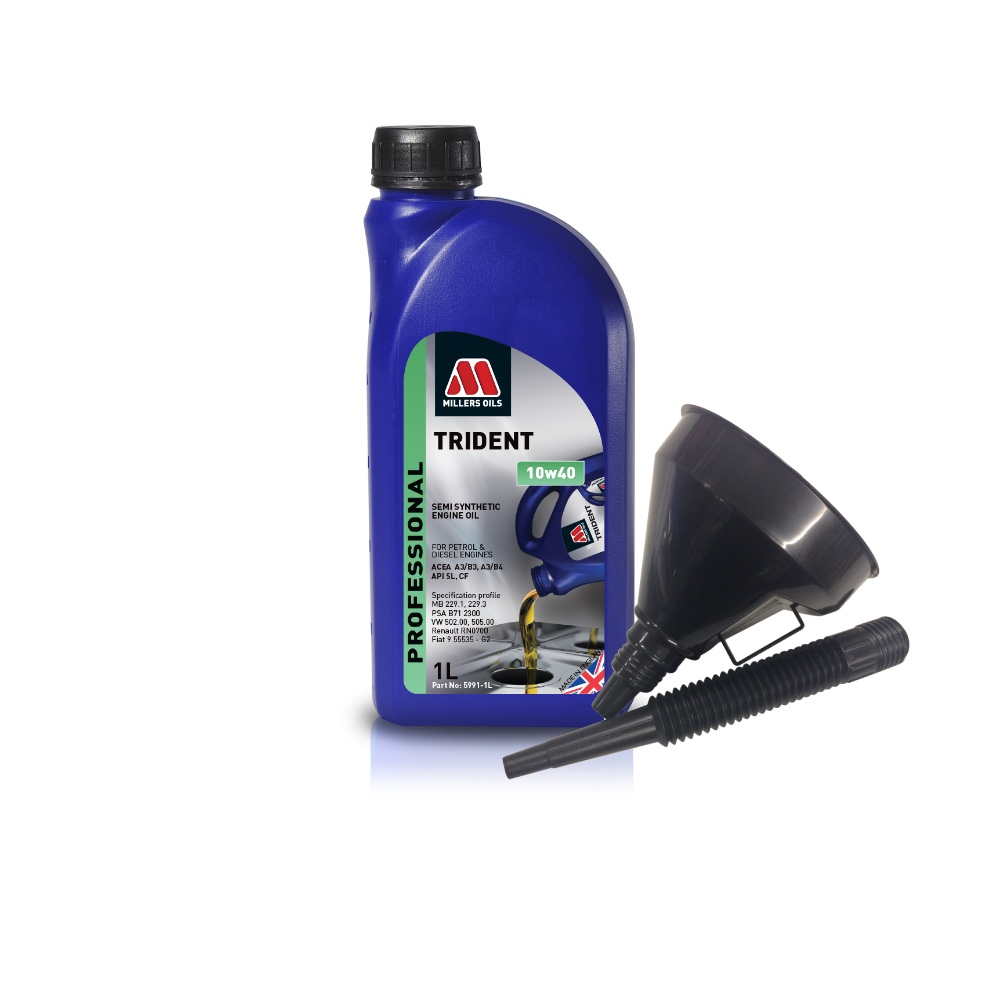 Millers Semi Synthetic 10W40 Turbo Charged 1 Litre Engine Oil + Funnel