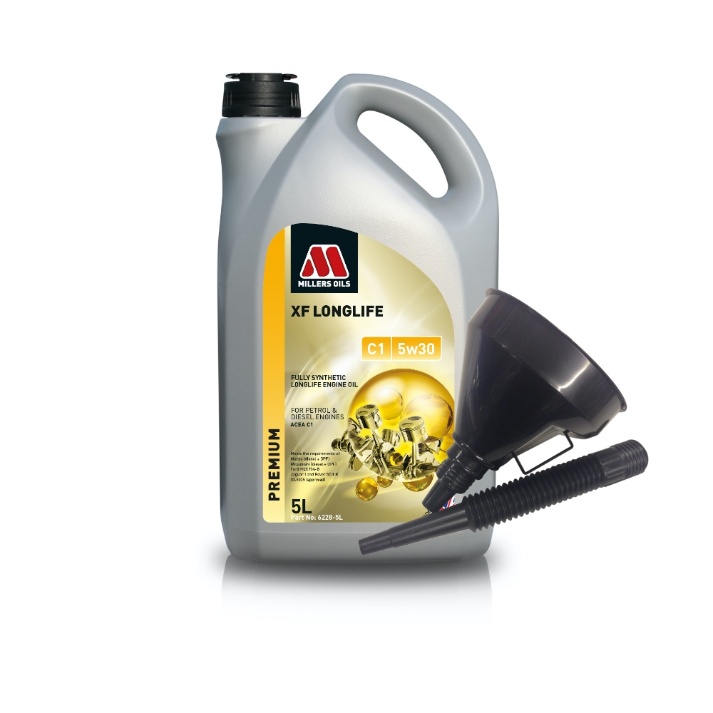 Millers Fully Synthetic C1 5W30 Mazda Mitsubishi 5 Litre Engine Oil + Funnel