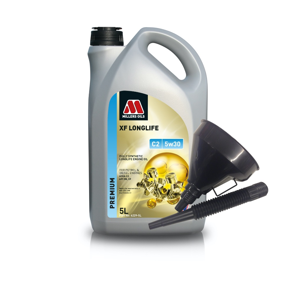Millers Fully Synthetic C2 5W30 Peugeot Citroen 5 Litre Engine Oil + Funnel