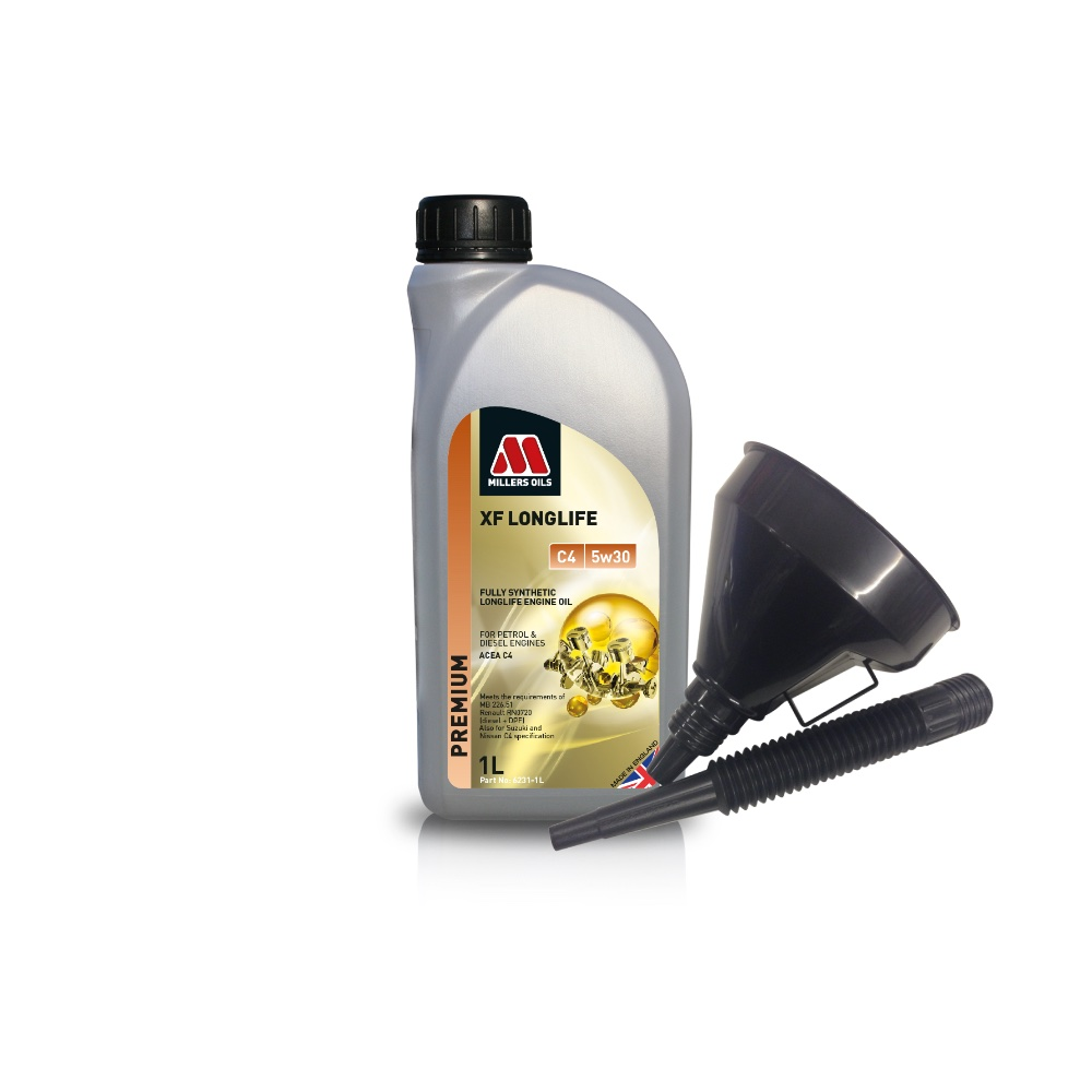 Millers Fully Synthetic C4 5W30 Renault Diesel DPF 1 Litre Engine Oil + Funnel